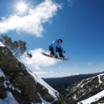Getting air on a bluebird day at Mt Buller.