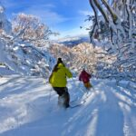 Powder skiing at in the Wombat Valley, Mt Buller.