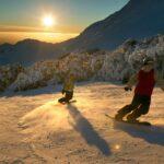 Snowboarding action on Boomerang Ski Run.