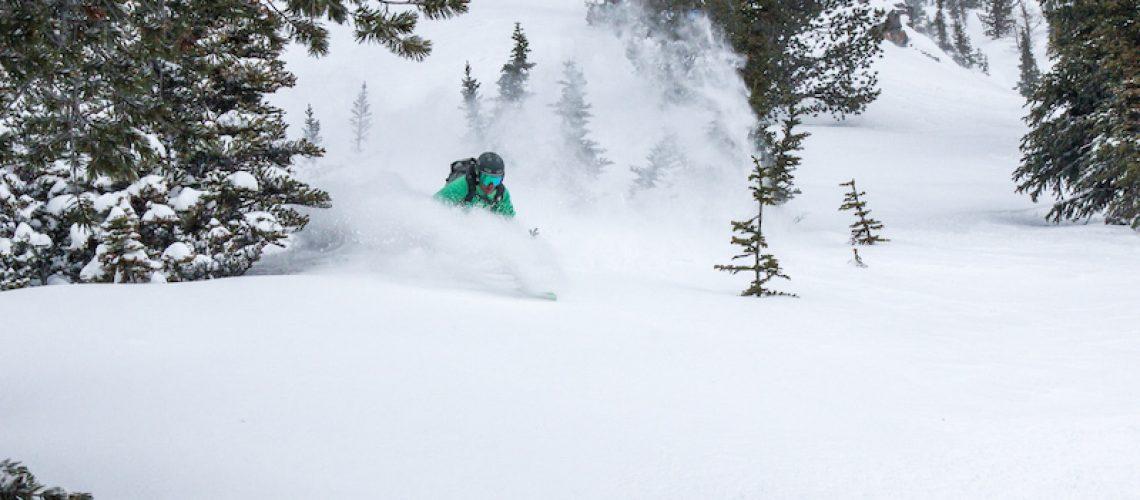 Skier in West Bowl at Lake Louise Ski Resort, Photo by Matt McDonald